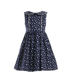Heart Print Sleeveless Dress Navy