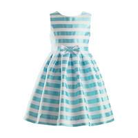 Striped Damask Dress Blue