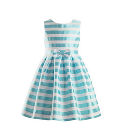 Striped Damask Dress Blue