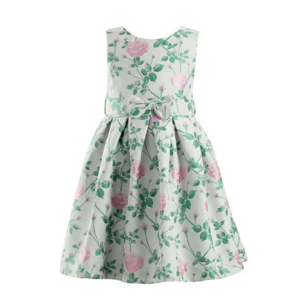 Rose Print Pleated Dress Green
