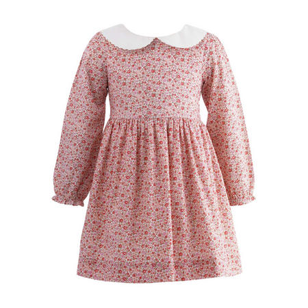 Peter Pan Collar Floral Dress Pink