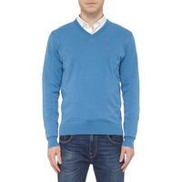 V-Neck Knit Sweater Blue