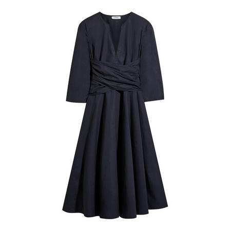 Delicato Poplin Dress Navy