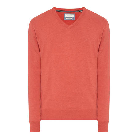 V-Neck Knit Sweater Red
