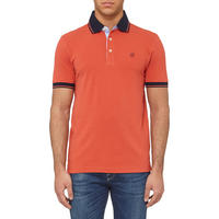 Contrast Trims Polo Shirt Orange