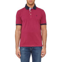 Contrast Trims Polo Shirt Pink