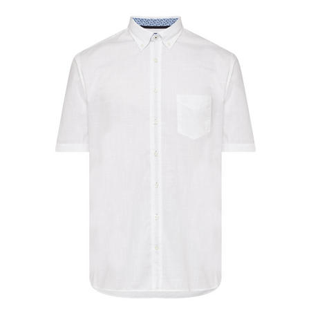 Short Sleeve Contrasting Trim Shirt White