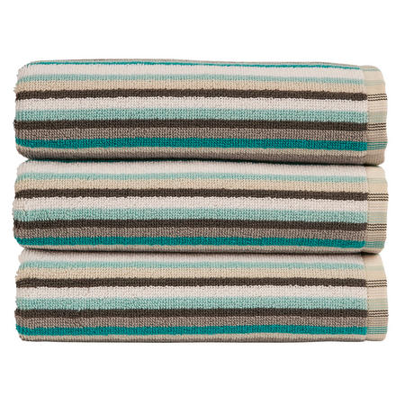 Henley Stripe Towel Dove Grey