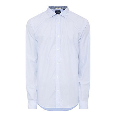 Micro-Dot Cotton Shirt Blue