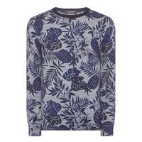 Palm Pattern Crew Neck Sweater Navy