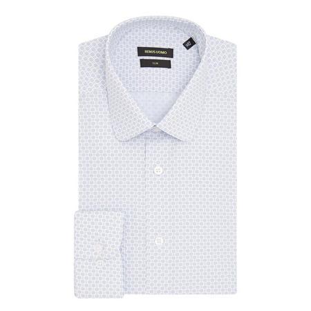 Slim Fit Circle Pattern Shirt Blue