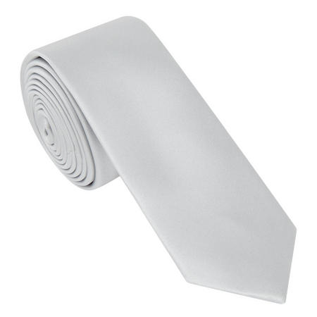 Satin Solid Tie Grey