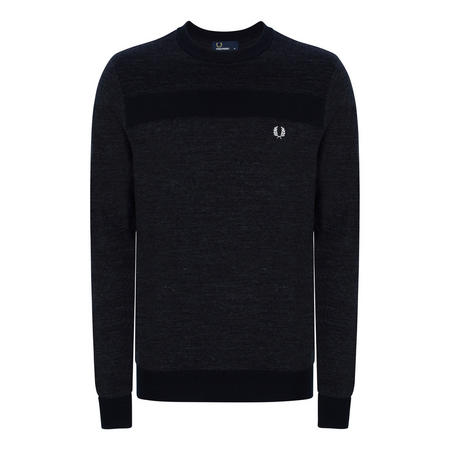 Tonal Panel Crew Neck Jumper Navy