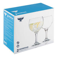 Entertain Set Of 2 Gin Balloon Glasses Clear