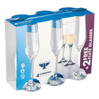 Cabernet Set Of 4 Flute Glasses Clear