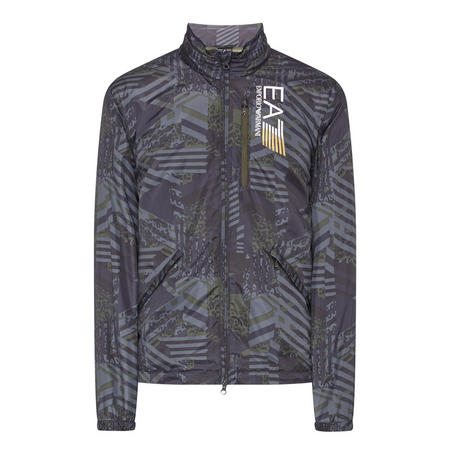 Camo Stripe Print Jacket Grey