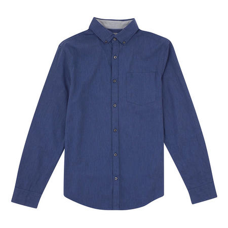 Heathered Stretch Cotton Shirt Blue
