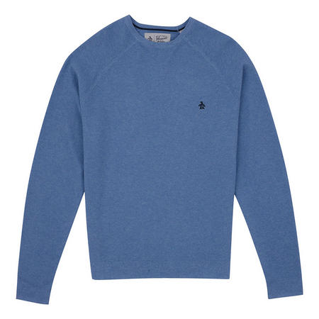 Textured Crew Neck Sweater Blue