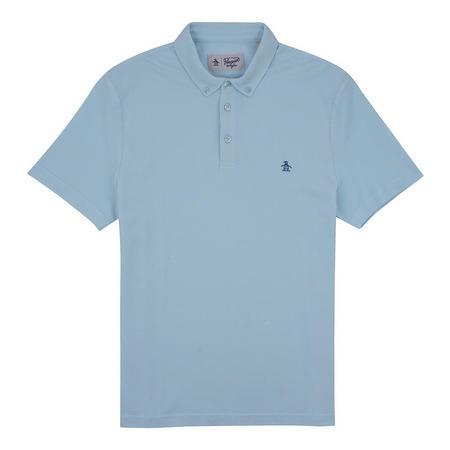 Button Down Pique Polo Blue