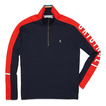 Colour Block Quarter Zip Pullover Blue