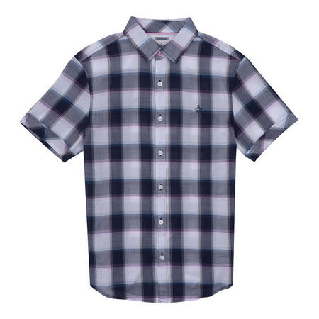 Short Sleeve Check Shirt Purple