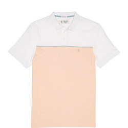Panelled Piped Polo Shirt Orange