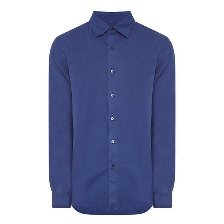 Curved Hem Casual Shirt Blue
