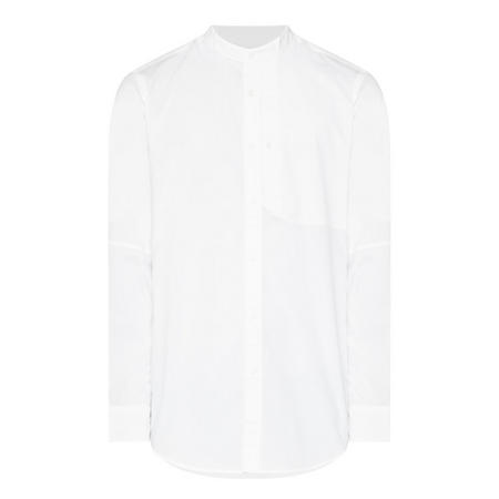 China Collar Long Sleeve Shirt White