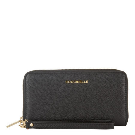 Leather Wristlet Wallet Black