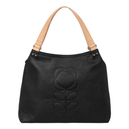 Embossed Flower Large Leather Shoulder Bag