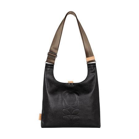 Embossed Flower Leather Shoulder Bag