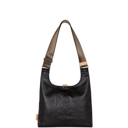 Embossed Flower Leather Shoulder Bag