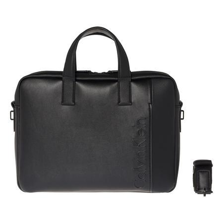 Embossed Logo Slim Laptop Bag Black