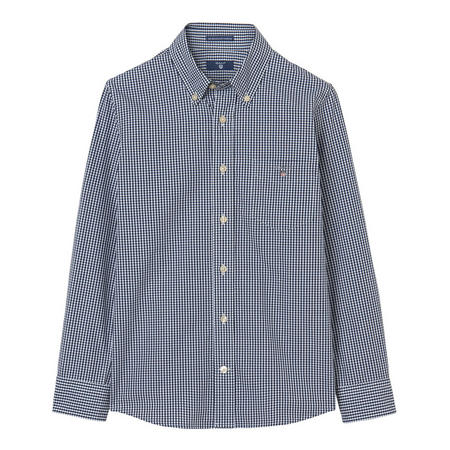 Boys Broadcloth Gingham Shirt Navy