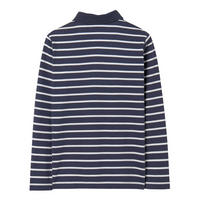 Boys Stripe Long Sleeve Polo Shirt Navy