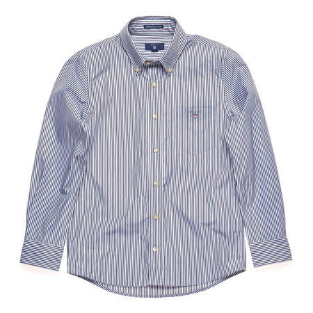 Boys Banker Stripe Shirt Navy