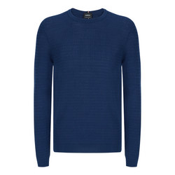 Textured Knit Sweater Navy
