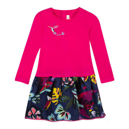 Girls Tropical Print Long Sleeve Dress Pink