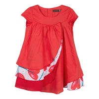 Frill Front Asymmetric Dress Red