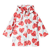 Girls Heart Print Rain Jacket Multicolour