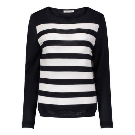 Ribbed Stripe Sweater Navy