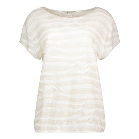 Wave Knit Short Sleeve Top Cream