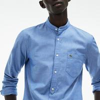 Grandad Collar Shirt Blue