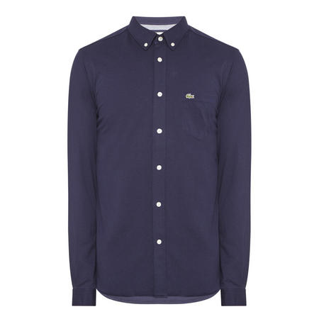 Slim Fit Pique Jersey Shirt Blue
