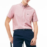 Short Sleeve Cotton Oxford Shirt Red