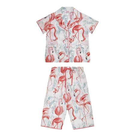 Girls Flamingo Pyjama Set White