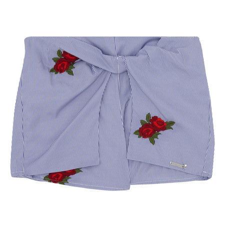 Girls Striped Rose Shorts Blue