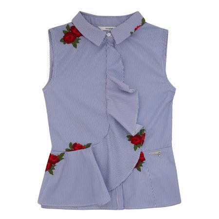 Girls Striped Rose Top Blue