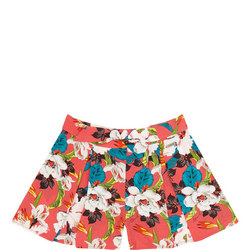 Girls Floral Pleated Shorts