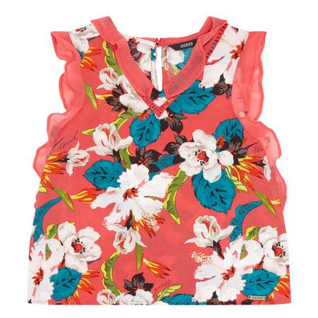 Girls Frill Trim Floral Blouse